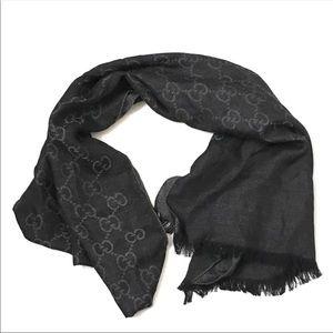 Authentic monogram black Gucci scarf